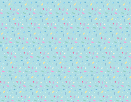 Cute candy-like dots appear repeatedly on the sky blue background. 일러스트
