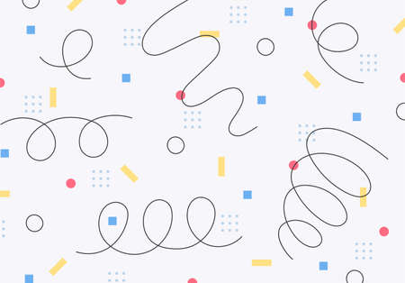 The retro small pieces are patterned, and the hand-drawn lines are spinning like a spring.