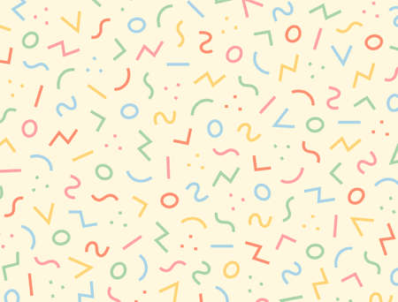 Patterns on a yellow background with jumbled circles and zigzag lines. 일러스트