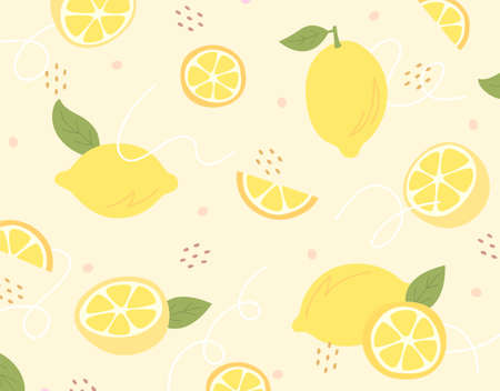 Hand drawn lemon and lemon slices on bright yellow pattern background. 스톡 콘텐츠 - 169459730