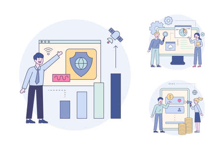 People upgrading online security, people making financial transactions online, experts checking graph analysis results. Outline flat design style minimal vector illustration set.
