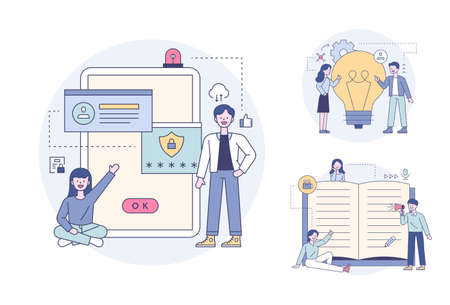 Mobile security and sharing ideas, people taking notes and reviewing. Outline flat design style minimal vector illustration set.