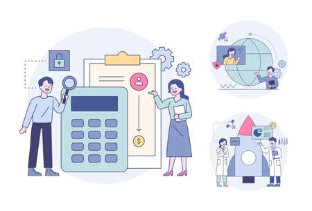 People analyzing data with calculators, meeting online in front of a globe, scientists doing rocket research. Outline flat design style minimal vector illustration set. 일러스트