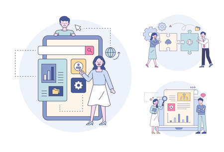 Man explaining settings icon on digital device, colleague doing two puzzles, people looking at analytics online. Outline flat design style minimal vector illustration set.