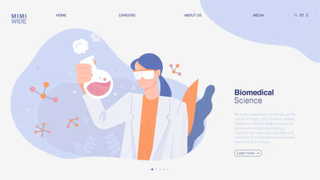 A researcher is holding a flask and conducting an experiment. Online web page concept template. flat design style minimal vector illustration. 일러스트