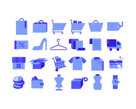 Shopping icons collection.. flat design style minimal vector illustration. 스톡 콘텐츠 - 169640835