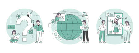 People looking for answers around question marks. A person having a global meeting between globes. People doing reviews on mobile. Outline flat design style minimal vector illustration set. 일러스트