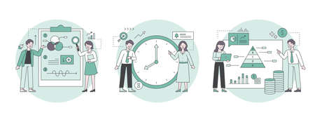 Professionals who analyze information graphs and people who analyze working hours. Outline flat design style minimal vector illustration set. 일러스트