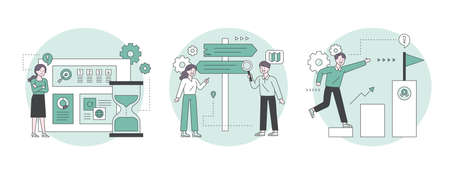 Business people working with hourglass standing up, looking at milestones to set direction and climbing stairs towards goal. Outline flat design style minimal vector illustration set. 일러스트