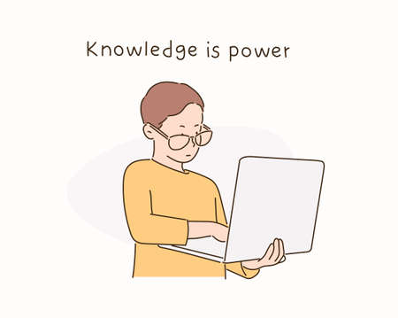 A boy in glasses is looking at a laptop. hand drawn style vector design illustrations. 일러스트