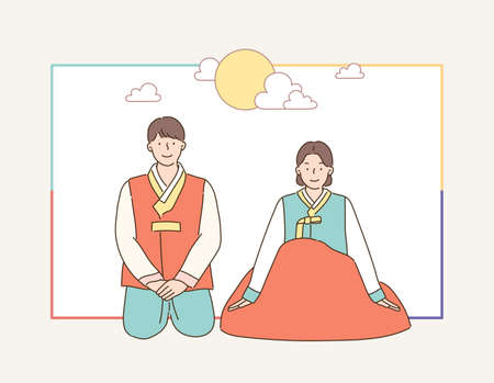 A couple in traditional Korean clothes are sitting on the floor and greeting each other. hand drawn style vector design illustrations.