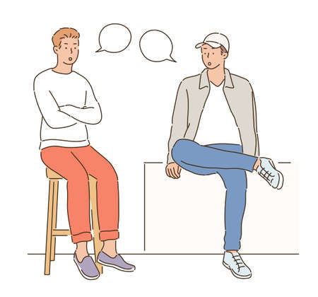 Two men are sitting in a chair and talking. hand drawn style vector design illustrations.