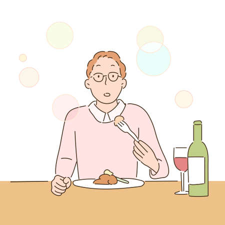 A man has a delicious expression while eating food in a restaurant. hand drawn style vector design illustrations.