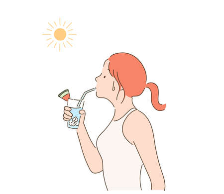A woman drinking a drink under the hot sun. hand drawn style vector design illustrations. 스톡 콘텐츠 - 169640854