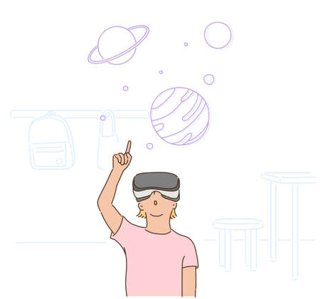 A girl is wearing VR glasses and pointing her finger at a digital image. hand drawn style vector design illustrations.