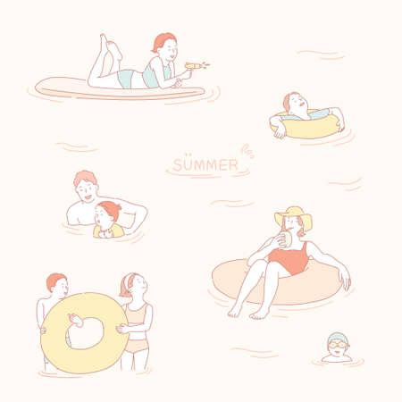 People swimming in a tube in the sea. hand drawn style vector design illustrations.