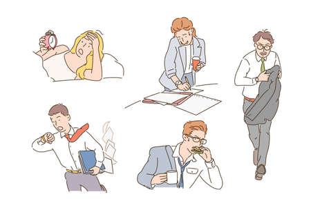 Business people are busy looking at the clock. hand drawn style vector design illustrations. 일러스트