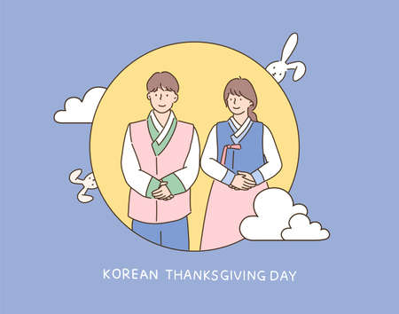 A couple dressed in traditional Korean clothes stands politely in the full moon. hand drawn style vector design illustrations.