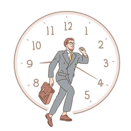 A businessman is running and there is a watch behind him. hand drawn style vector design illustrations.
