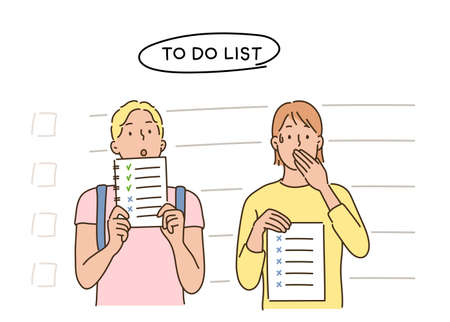 People holding to-do lists. hand drawn style vector design illustrations. 일러스트