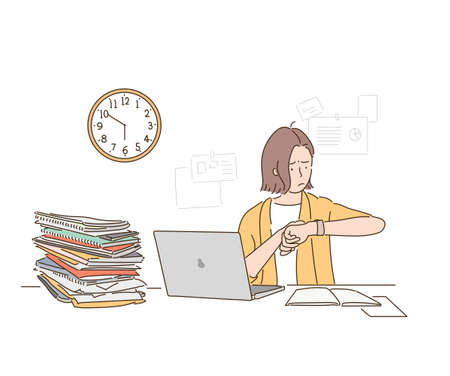 A business woman is looking at the clock, it is past the end of the work day, but the work is piled up at the desk. hand drawn style vector design illustrations.