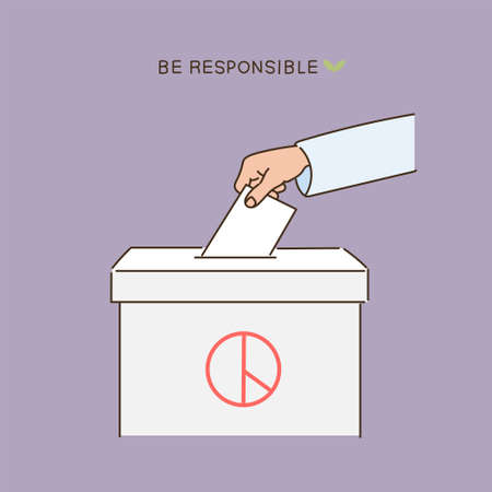 Close-up of hand putting paper in ballot box. hand drawn style vector design illustrations. 일러스트