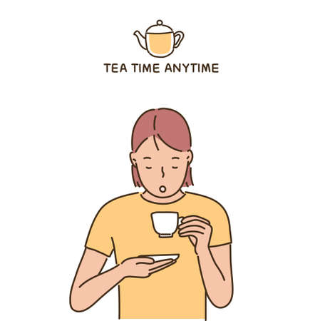 A woman is drinking tea with a teacup in one hand and a saucer in the other. hand drawn style vector design illustrations.