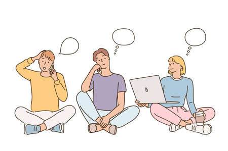 Students sitting on the floor calling, thinking and looking at laptop. hand drawn style vector design illustrations. 일러스트