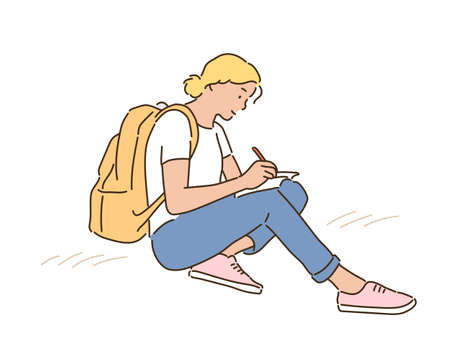 A woman with a backpack is sitting on the floor and writing in a notebook. hand drawn style vector design illustrations.