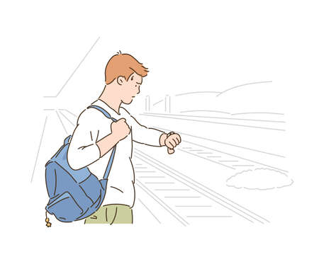 A man is looking at his watch while waiting for the subway. hand drawn style vector design illustrations.
