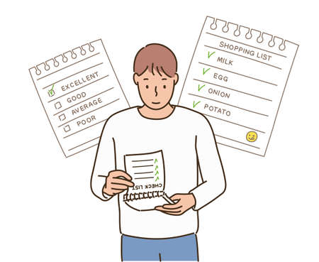 A man looking at a notebook with a to-do list. hand drawn style vector design illustrations.