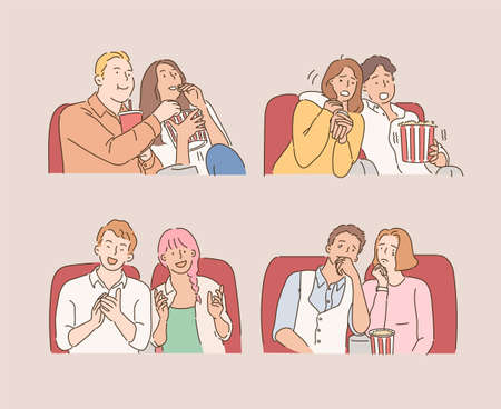 Several couples are watching a movie in the cinema and making various expressions. hand drawn style vector design illustrations.