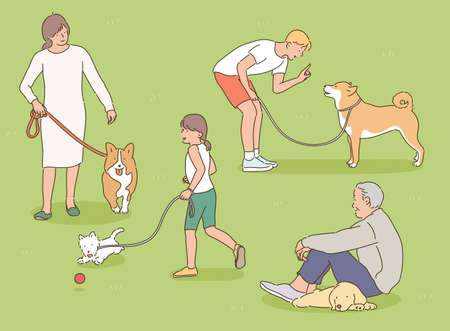 People are taking a walk in the park with their dogs. hand drawn style vector design illustrations. 스톡 콘텐츠 - 169640889