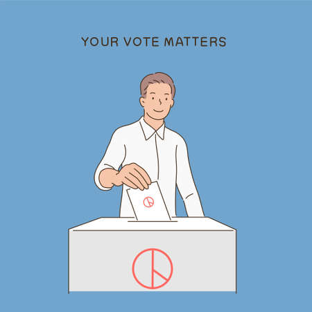 A man is putting a stamped paper into the ballot box. hand drawn style vector design illustrations.