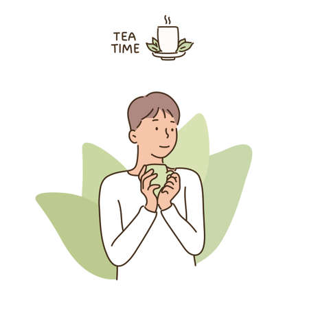 A man holds a teacup and has a relaxed expression. hand drawn style vector design illustrations.