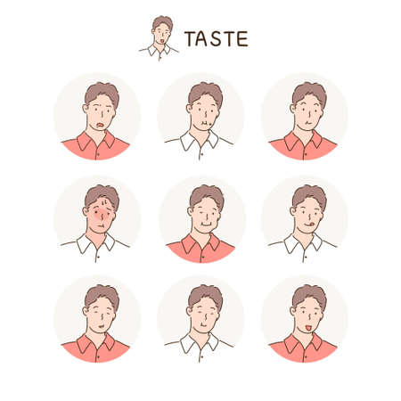 Various facial expressions of a man. hand drawn style vector design illustrations. 스톡 콘텐츠 - 169640892
