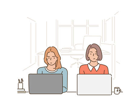 Two women are sitting side by side in a cafe, looking at each other uncomfortably, using a laptop. hand drawn style vector design illustrations. 스톡 콘텐츠 - 169640893