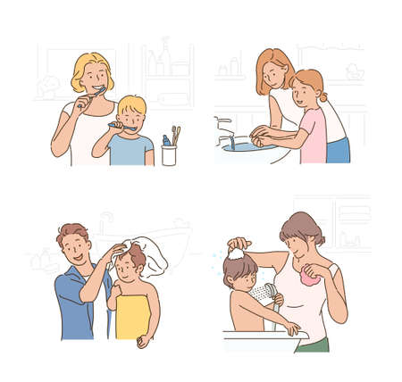 Parents are helping their children brush their teeth, wash their hands and take a shower.