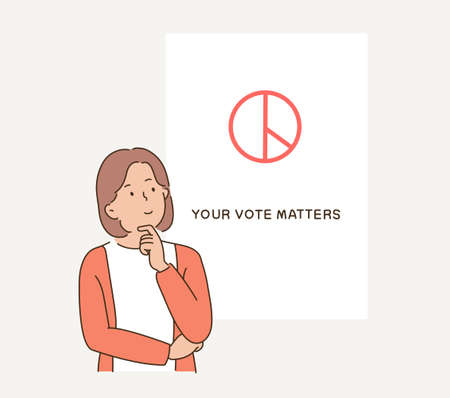 A girl is struggling while looking at the voting paper. hand drawn style vector design illustrations.