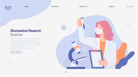 A scientist is doing research in a laboratory. He is watching with a microscope on the table, holding a chart in his hand and a test tube in the other. Online web page concept template. 일러스트