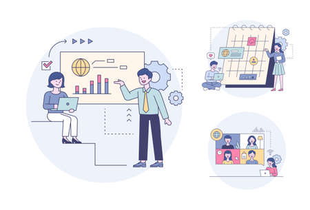 Business people making presentations while looking at graphs, making schedules on a calendar, and having video conferences. Outline flat design style minimal vector illustration set. 스톡 콘텐츠 - 169640901
