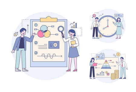 Professionals analyzing data by looking at chart portfolios and clock and pyramid graphs. Outline flat design style minimal vector illustration set. 스톡 콘텐츠 - 169640905