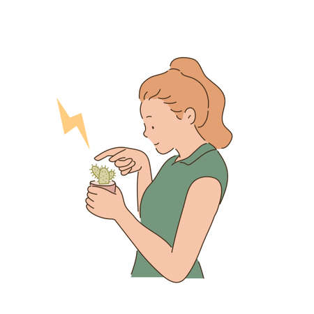 A woman is touching a cactus pot with her finger. hand drawn style vector design illustrations.