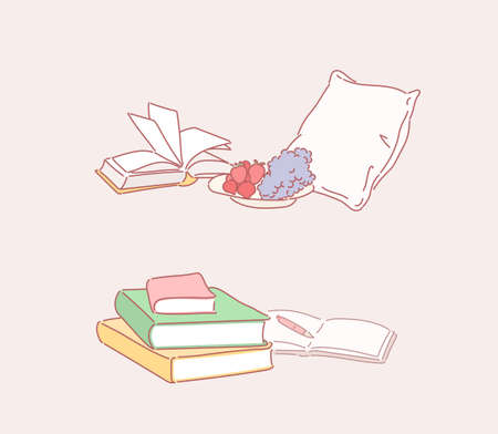 Books stacked and bookshelves falling over. Relaxing atmosphere. hand drawn style vector design illustrations.