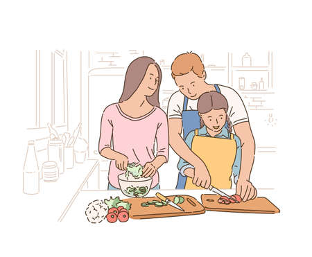 Father mother and daughter are lovingly cooking. hand drawn style vector design illustrations. Vector Illustratie