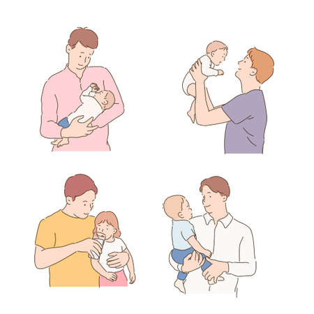 The father is lovingly sitting the baby. hand drawn style vector design illustrations. Vector Illustratie