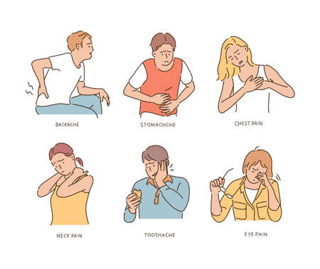Characters expressing pain in each part. hand drawn style vector design illustrations.