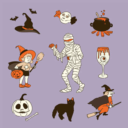 Collection of Halloween objects.