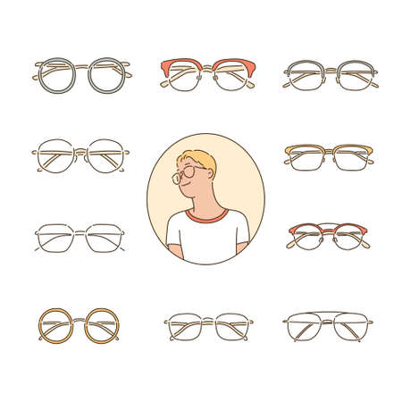 Man wearing glasses with different types of glasses.