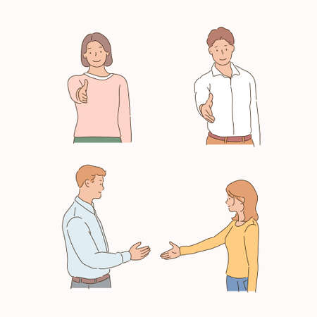 Front and side views of people reaching out to shake hands. 일러스트